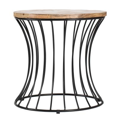 Eva Designer Black and Natural Wood Color Mango Wood Cage Side Table