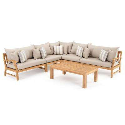Kooper 6-Piece Wood Outdoor Sectional Set with Slate Grey Cushions