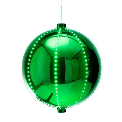 13 in. Tall Hanging Christmas Ball Ornament with LED Lights, Green