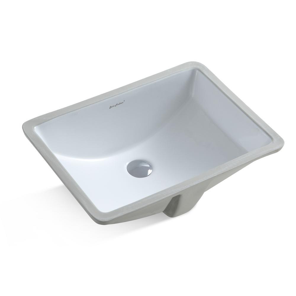 Strange Swiss Madison Plaisir 21 In Rectangular Undermount Bathroom Sink In Glossy White Beutiful Home Inspiration Xortanetmahrainfo