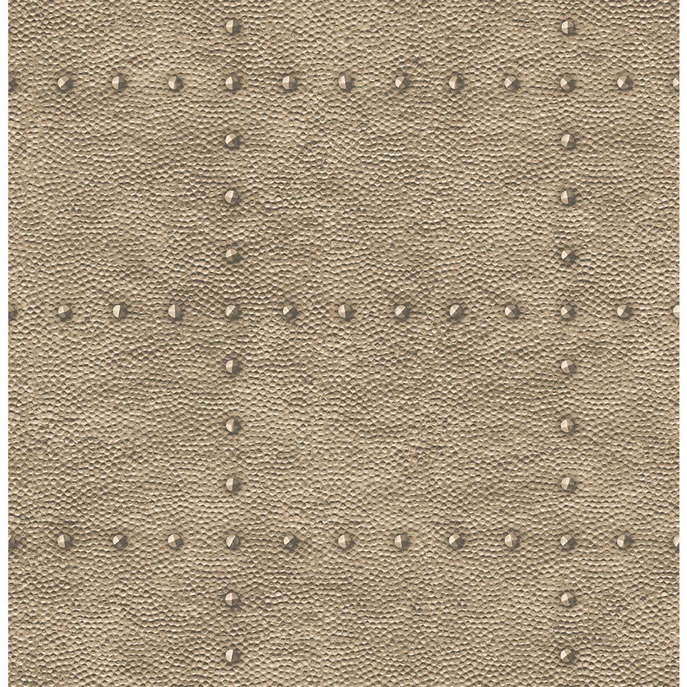 A-Street 56.4  sq. ft. Goldberg Brown Hammered Metal Wallpaper