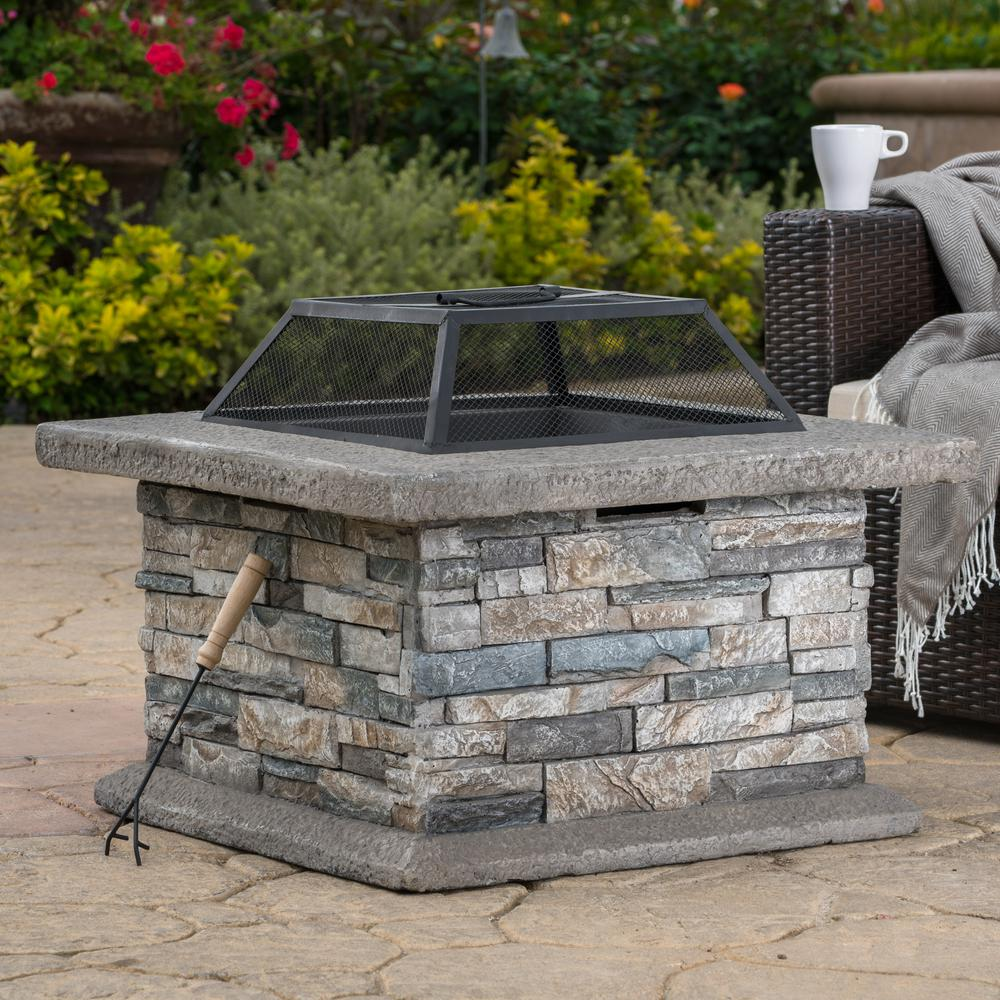Noble House Crestline 29.00 in. x 17.10 in. Square Natural Stone Fire Pit