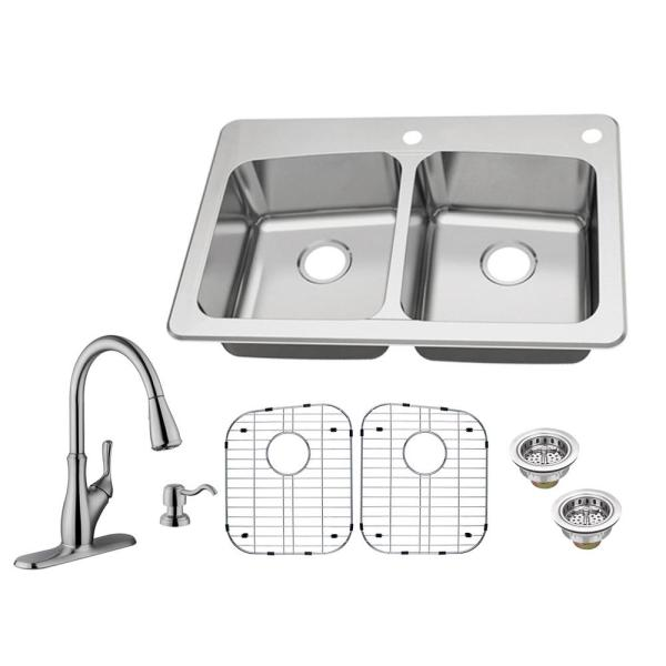 Glacier Bay All In One Dual Mount 18 Gauge Stainless Steel 33 In 2 Hole 50 50 Double Bowl Kitchen Sink With Pull Out Kitchen Faucet Vt3322p09p36bn The Home Depot