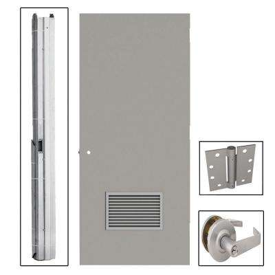 Flush Gray Steel Commercial Louvered Unit with Hardware