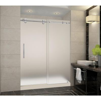Langham 60 in. x 32 in. x 77.5 in. Frameless Sliding Shower Door with Frosted in Stainless Steel with Left Base