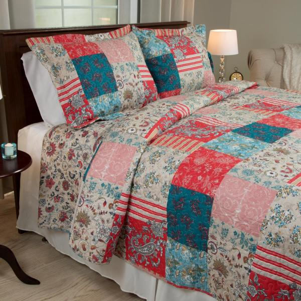Lavish Home Mallory Red Polyester Full/Queen Quilt 66-10039-FQ
