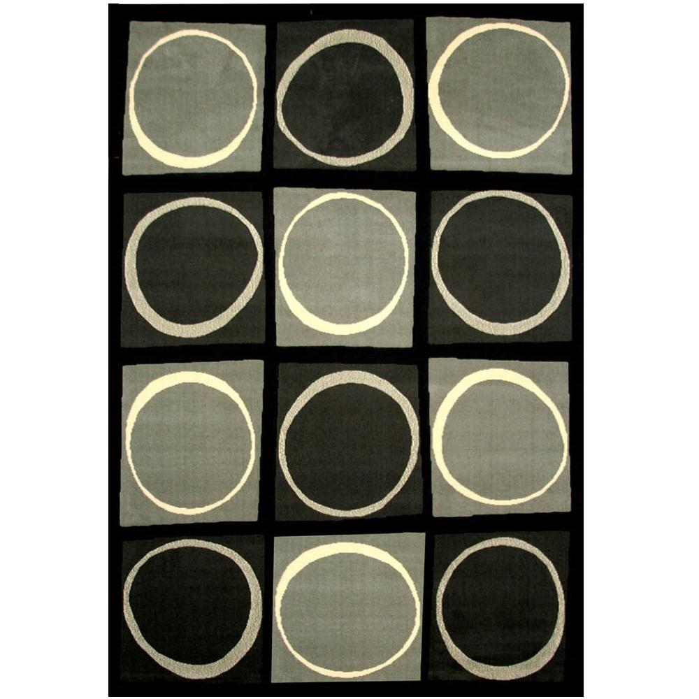 Terra Checkers Black 5 ft. 3 in. x 7 ft. 6