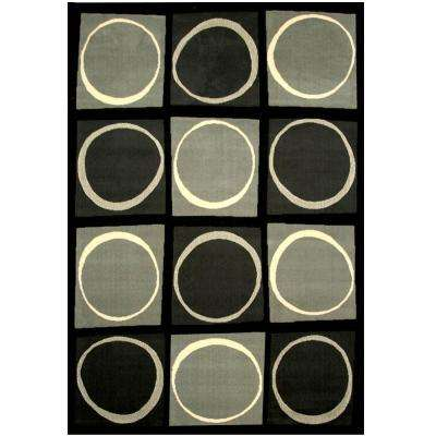 Terra Checkers Black 5 ft. 3 in. x 7 ft. 6 in. Area Rug