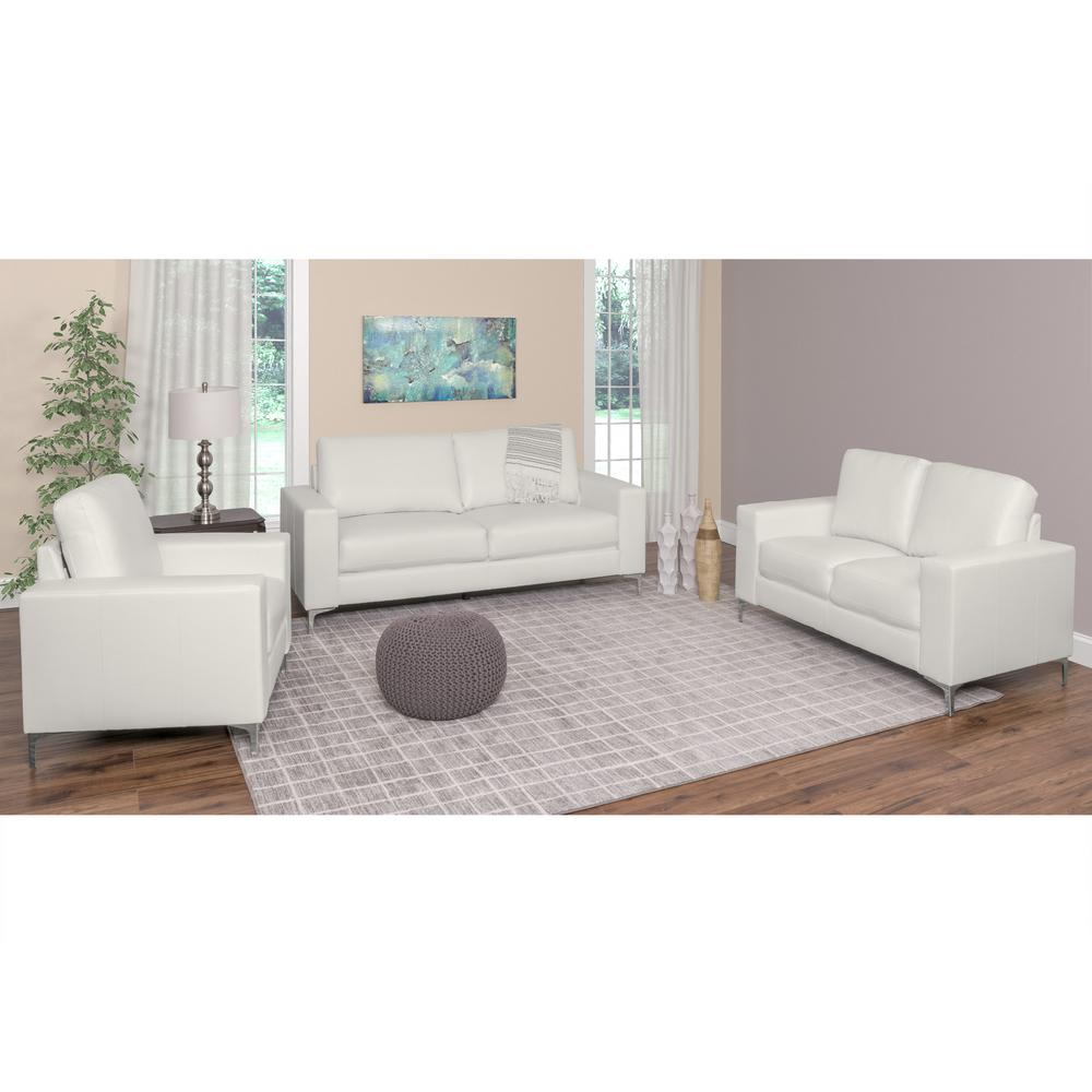 Exceptionnel CorLiving Cory 3 Piece Contemporary White Bonded Leather Sofa Set