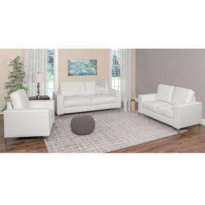 Cory 3-Piece Contemporary White Bonded Leather Sofa Set