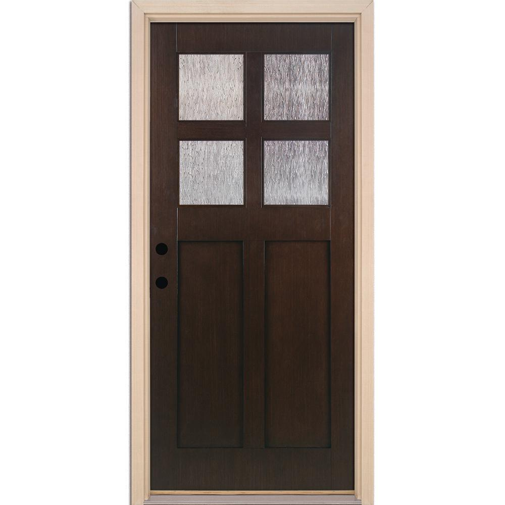 4 Lite Cord Craftsman Stained Cocoa Teak Right Hand Inswing Fibergl Prehung Front Door