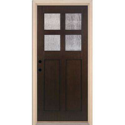 37.5 in. x 81.625 in. 4-Lite Cord Craftsman Stained Cocoa Teak Right-Hand Inswing Fiberglass Prehung Front Door