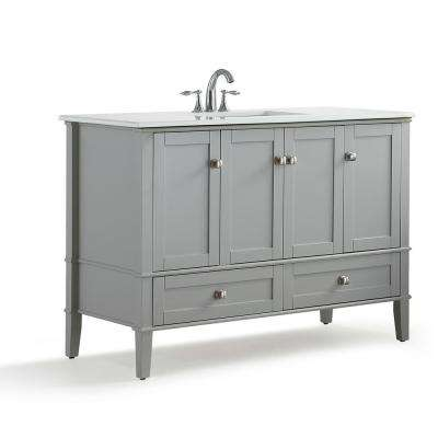 Chelsea 48 in. W x 21.5 in. D x 34.7 in. H Bath Vanity in Grey with Quartz Marble Vanity Top in White with White Basin