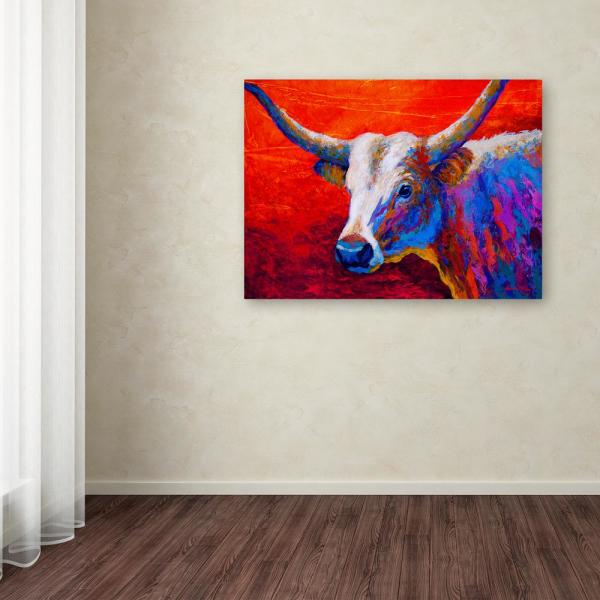 Trademark Fine Art 18 in. x 24 in. ''Sunset Ablaze Longhorn''