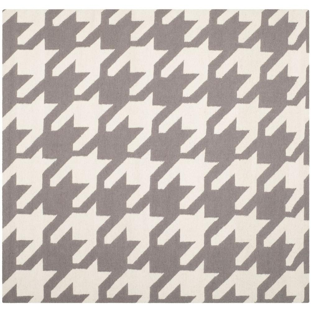 Dhurries Grey/Ivory 6 ft. x 6 ft. Square Area Rug