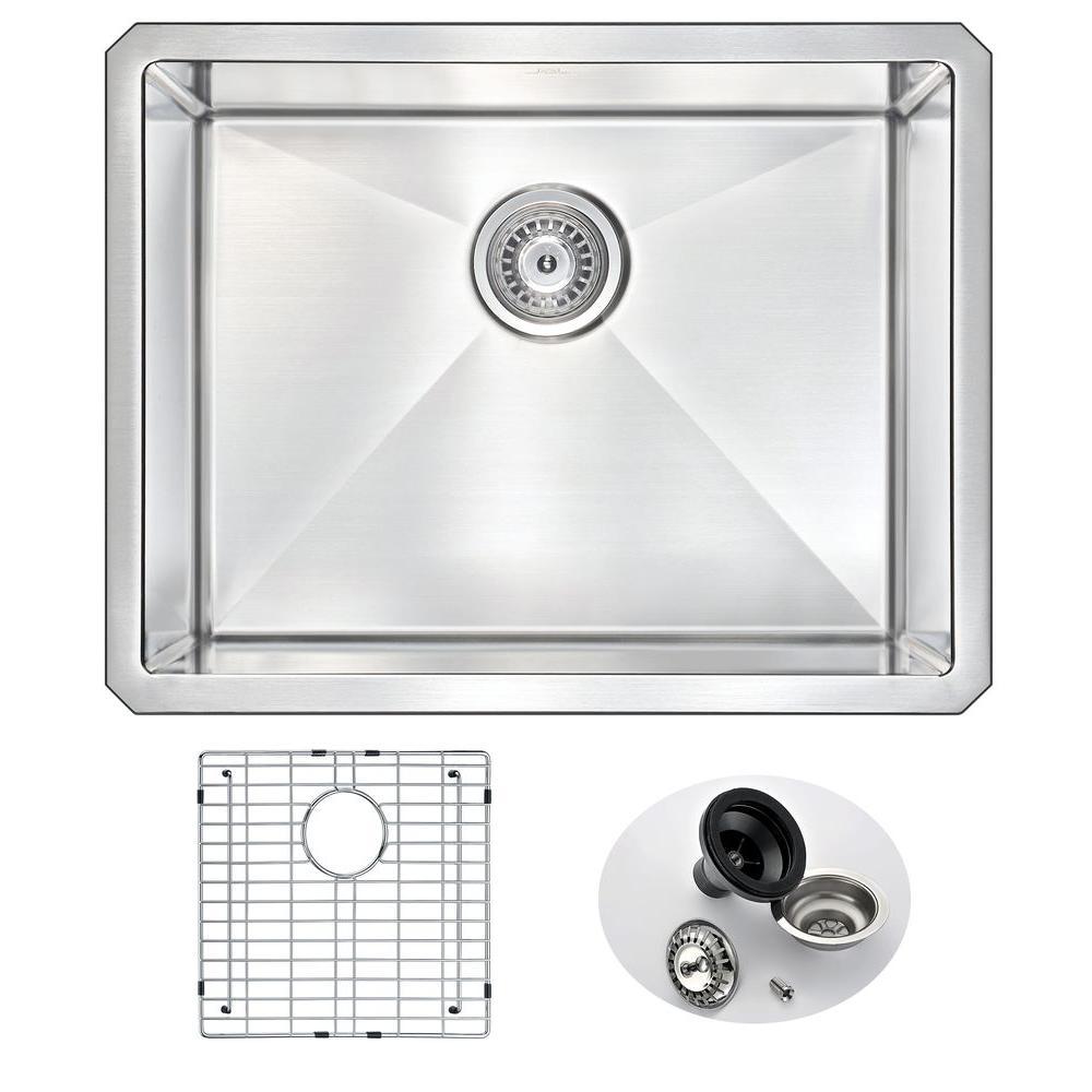 VANGUARD Series Undermount Stainless Steel 23 in. 0-Hole Single Bowl Kitchen