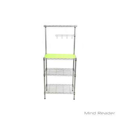 3 Tier Microwave Shelf Counter Unit with Hooks in Silver