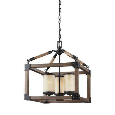 Dunning 16.5 in. W. 3-Light Weathered Gray and Distressed Oak Single Tier Chandelier
