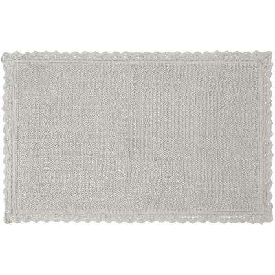 Reversible Crochet Beaded 20 in. x 34 in. Bath Rug, Light Gray