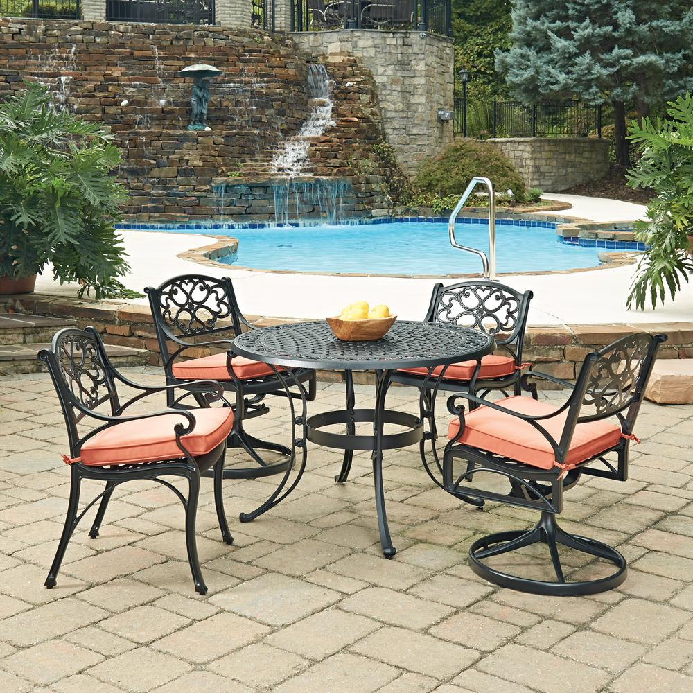 Charmant Home Styles Biscayne Black 5 Piece Cast Aluminum Outdoor Dining Set With  Coral Cushions
