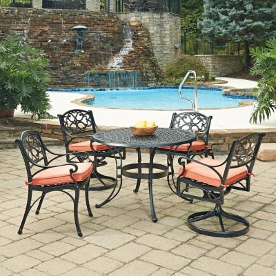 4d67e7ce407 Biscayne Black 5-Piece Cast Aluminum Outdoor Dining Set with Coral Cushions