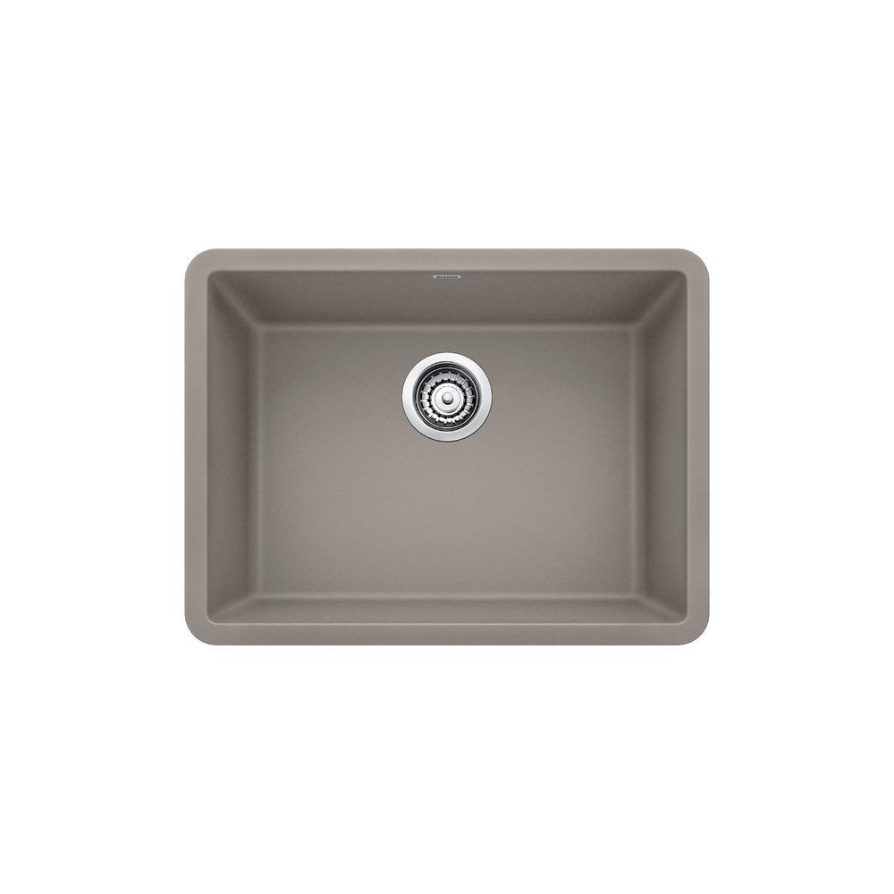 Blanco PRECIS Undermount Granite Composite 24 In. Single Bowl Kitchen Sink  In Truffle
