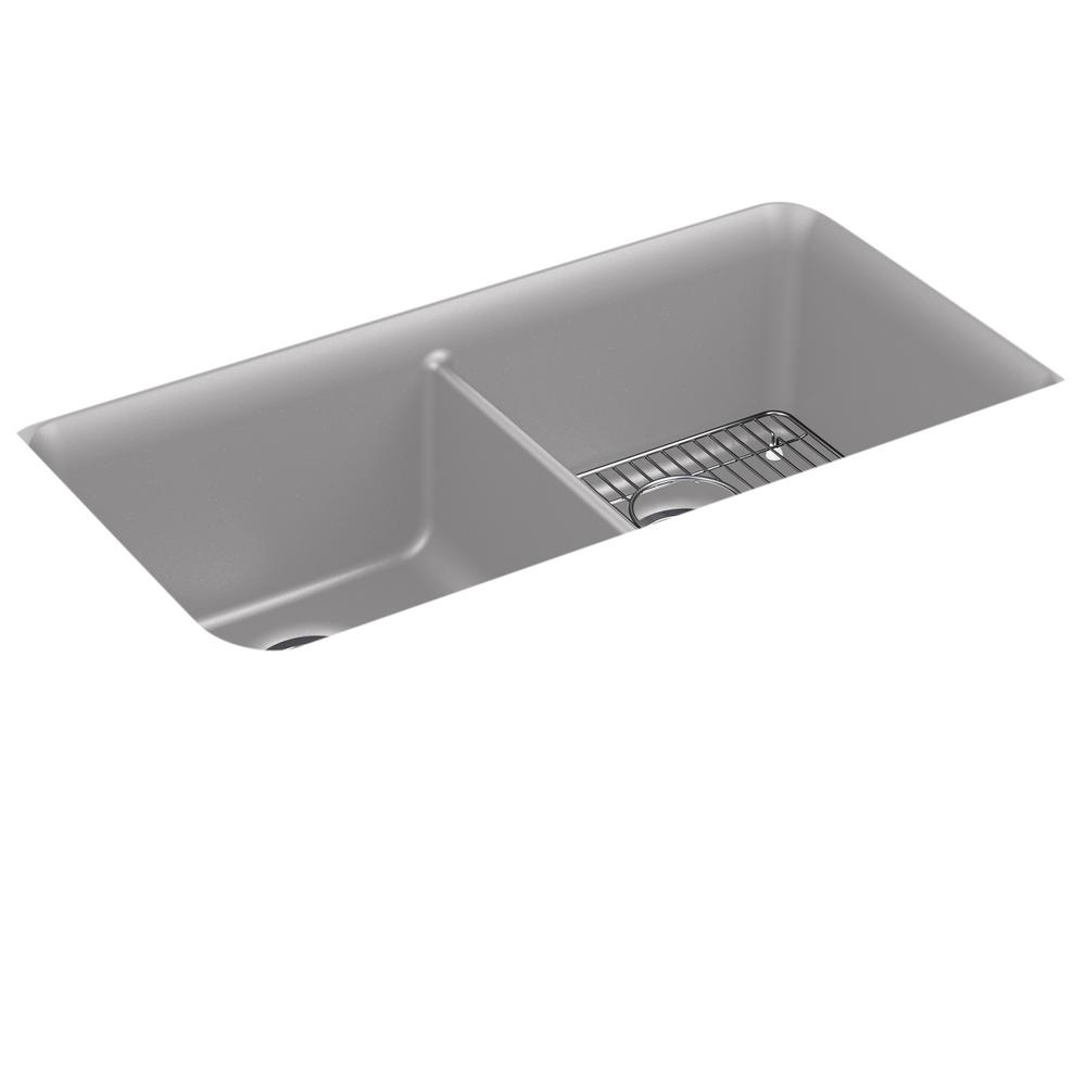 Cairn Undermount Neoroc Granite Composite 33.5 in. Double Bowl Kitchen Sink
