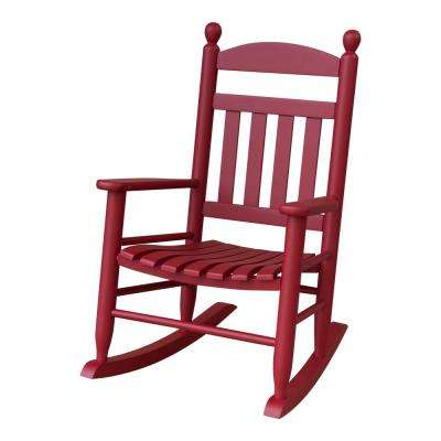 Youth Slat Red Wood Outdoor Patio Rocking Chair