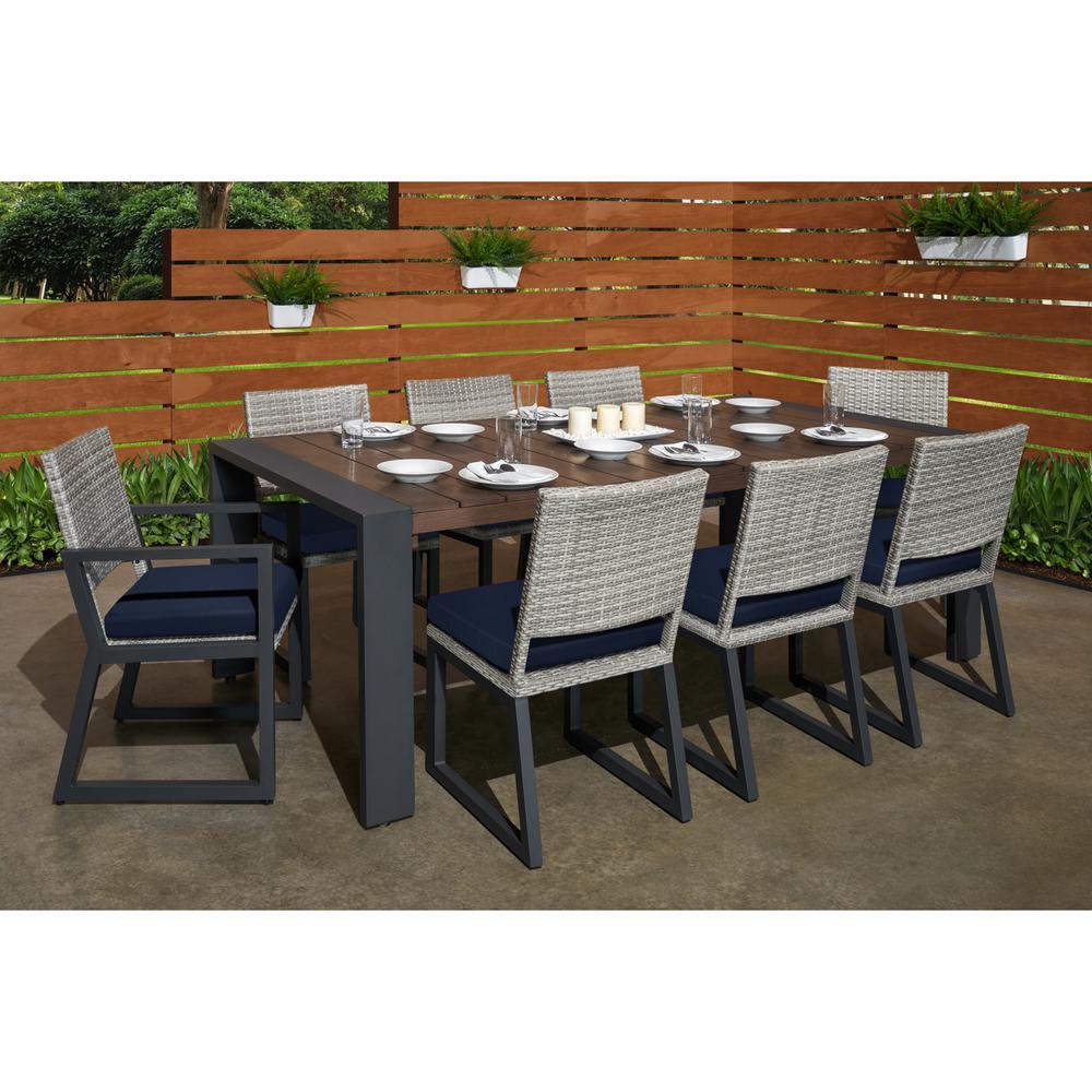 Milo Grey 9-Piece Wicker Outdoor Dining Set with Sunbrella Navy Blue Cushions