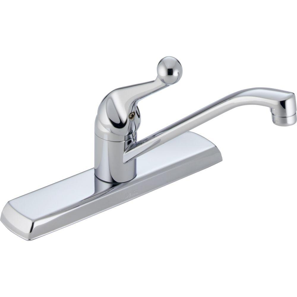 single handle kitchen faucets delta classic single handle standard kitchen faucet in chrome 120lf the home depot 5310