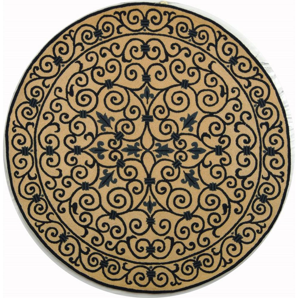 Chelsea Ivory/Dark Blue 8 ft. x 8 ft. Round Area Rug