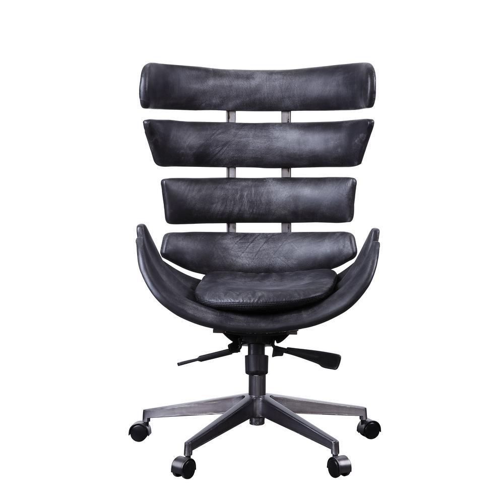 Megan Vintage Black Top Grain Leather and Aluminum Executive Office Chair