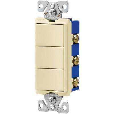 15 Amp 120-Volt 3-Way Decorator 3 Single-Pole Combination Switches in Almond