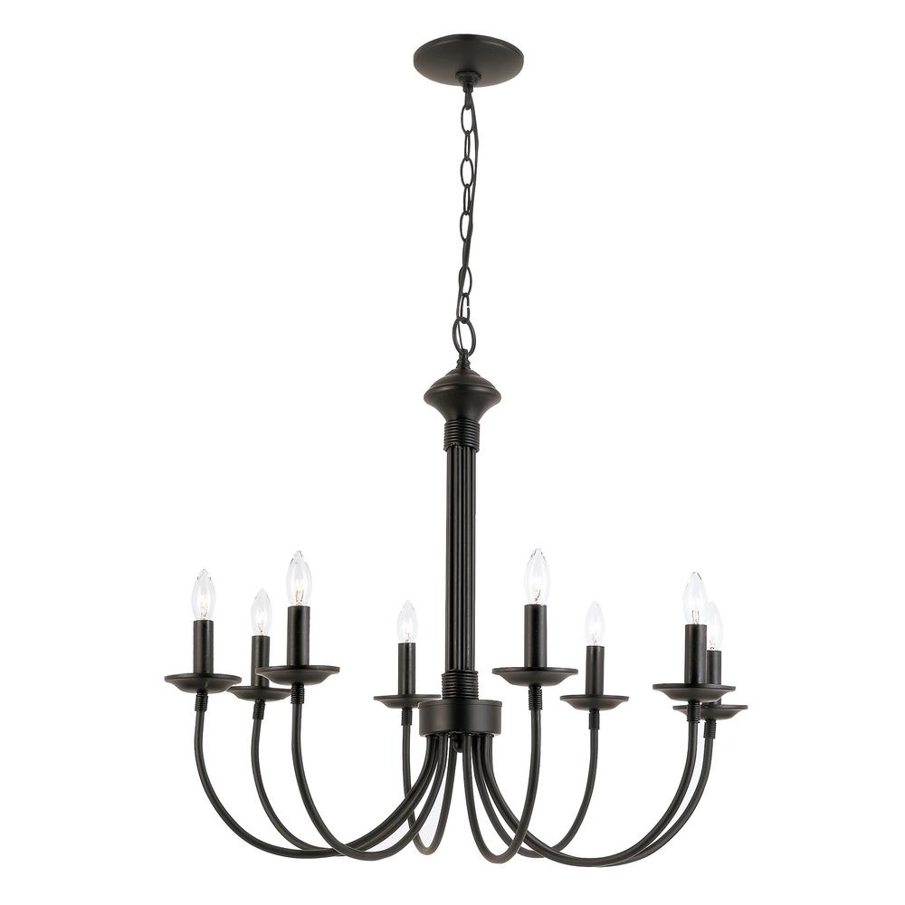 Bel Air Lighting 8 Light Black Incandescent Ceiling Chandelier