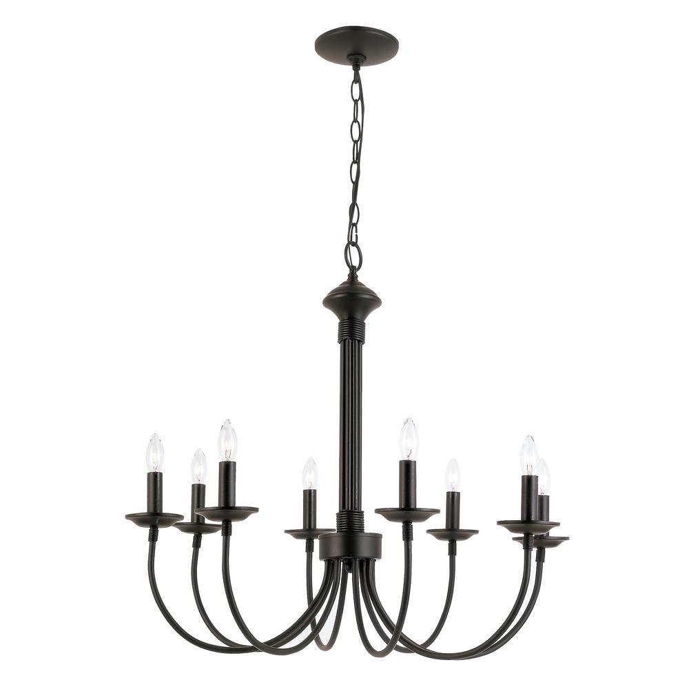 Stewart 8-Light Black Incandescent Ceiling Chandelier