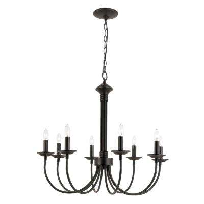 Stewart 8-Light Black Incandescent Ceiling Chandelier