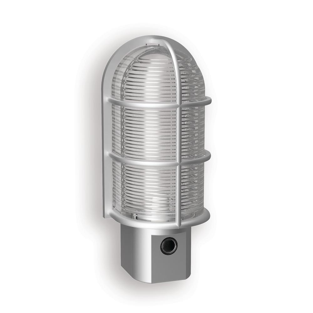 Satin Nickel Industrial Cage LED Night Light