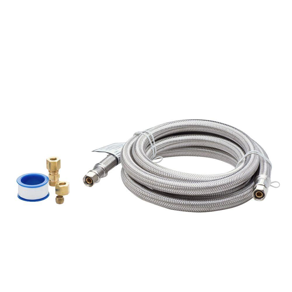 Smart Choice 6 ft. Stainless Steel Refrigerator Waterline Kit