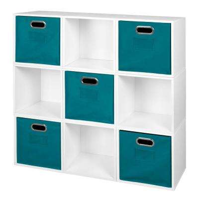 Cubo 39 in. H x 39 in. W White Wood Grain/Teal 9-Cube and 5-Bin Organizer
