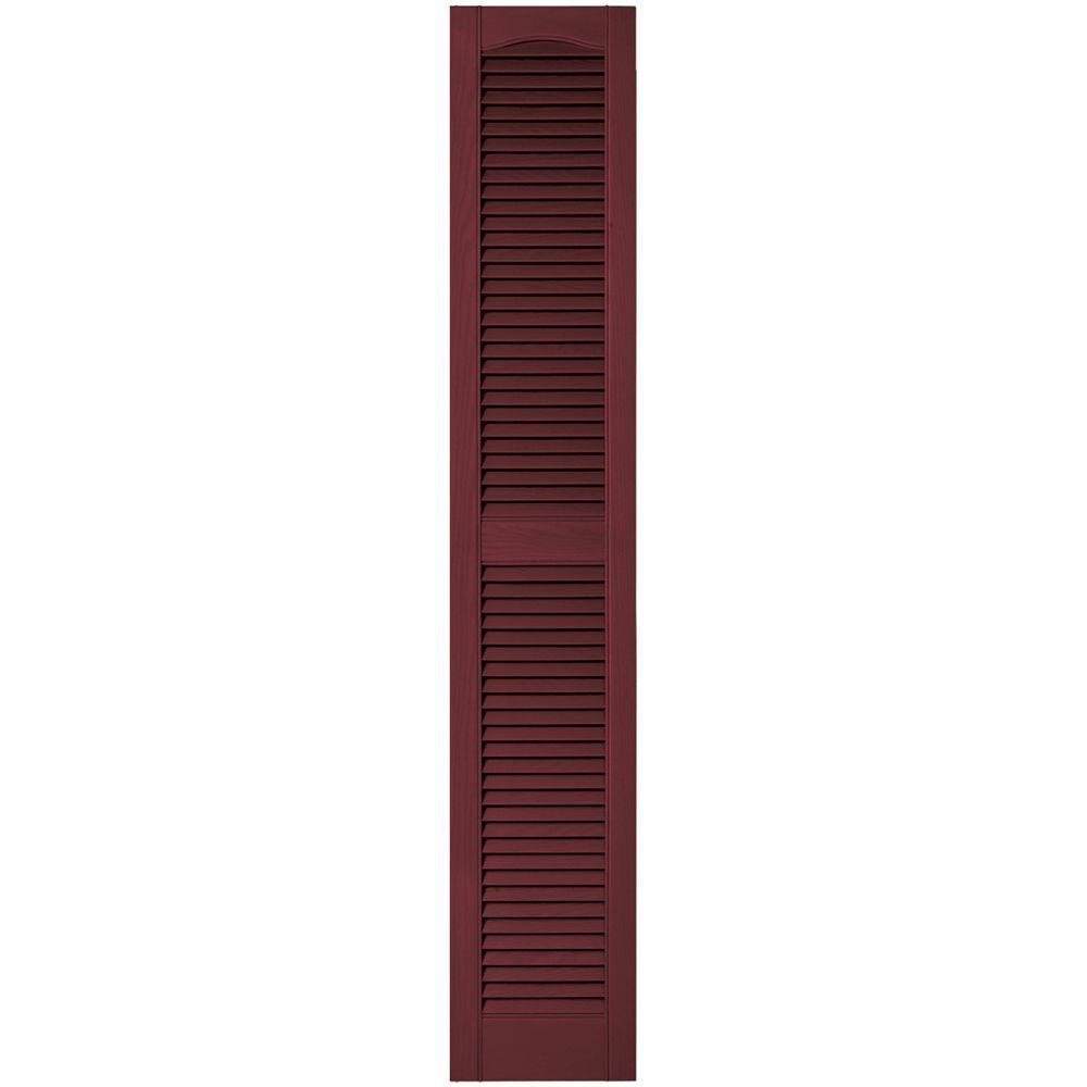 Builders Edge 12 in. x 67 in. Louvered Vinyl Exterior Shutters Pair in #078 Wineberry