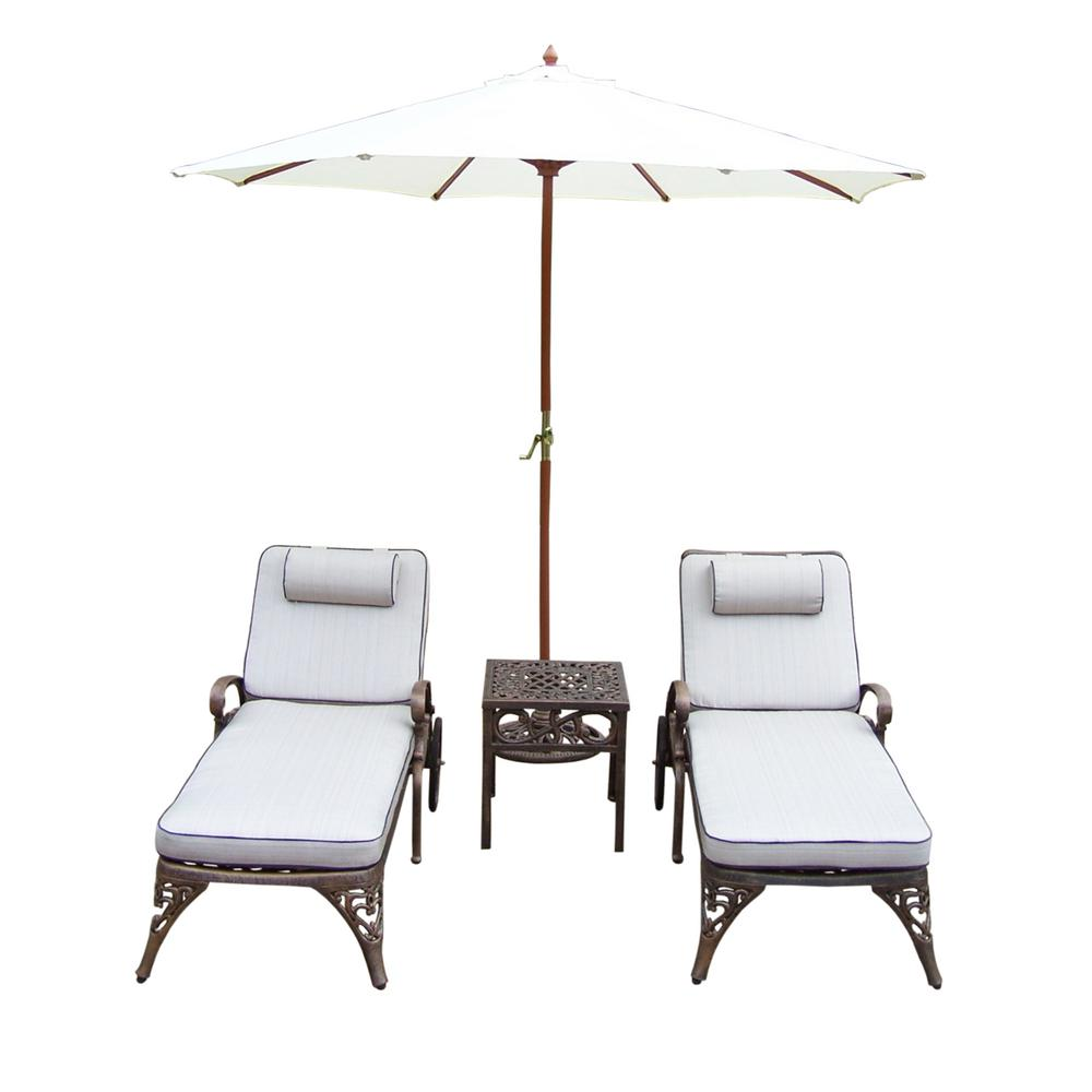 5 Piece Cast Aluminum Outdoor Chaise Lounge Set With Tan Cushions And White Umbrella