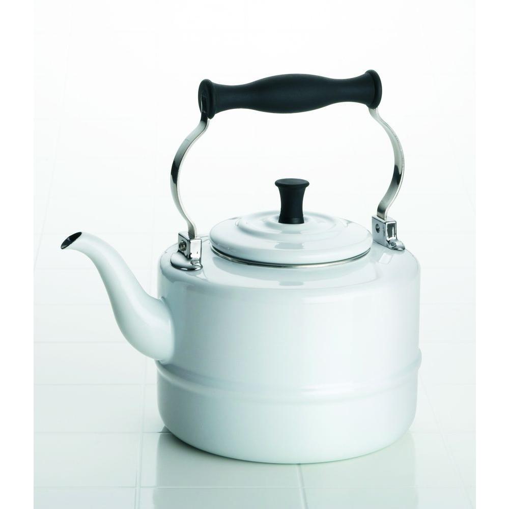 BonJour 2 qt. Porcelain Teakettle in White-DISCONTINUED