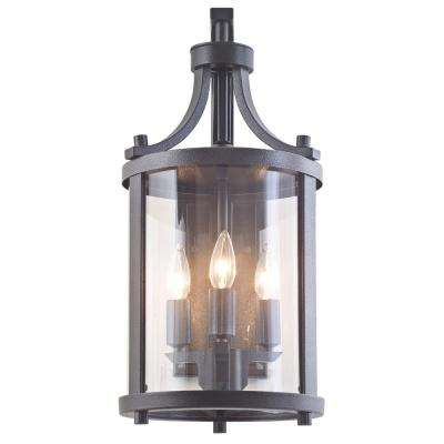 Antonia 3-Light Hammered Black Outdoor Wall Mount Sconce