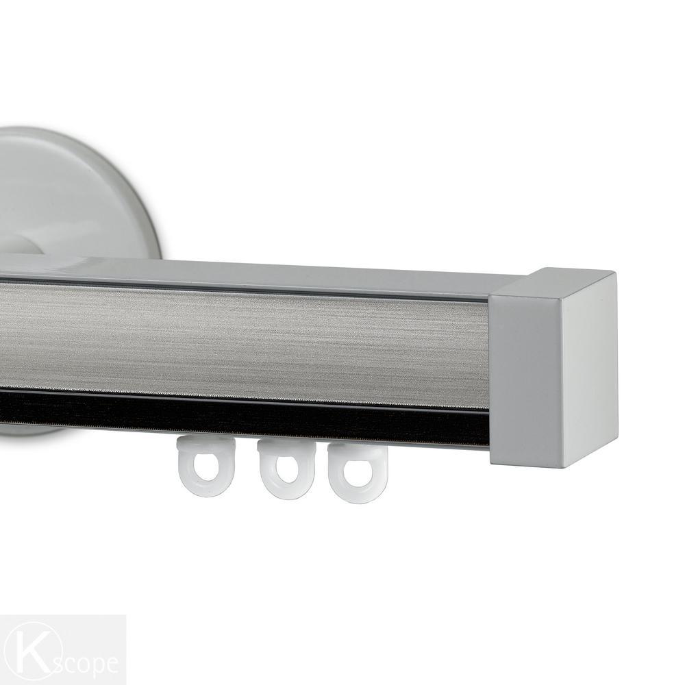 Nexgen 96 in. Non-Adjustable Single Traverse Window Curtain Rod Set with White Endcap in Ebony Applique