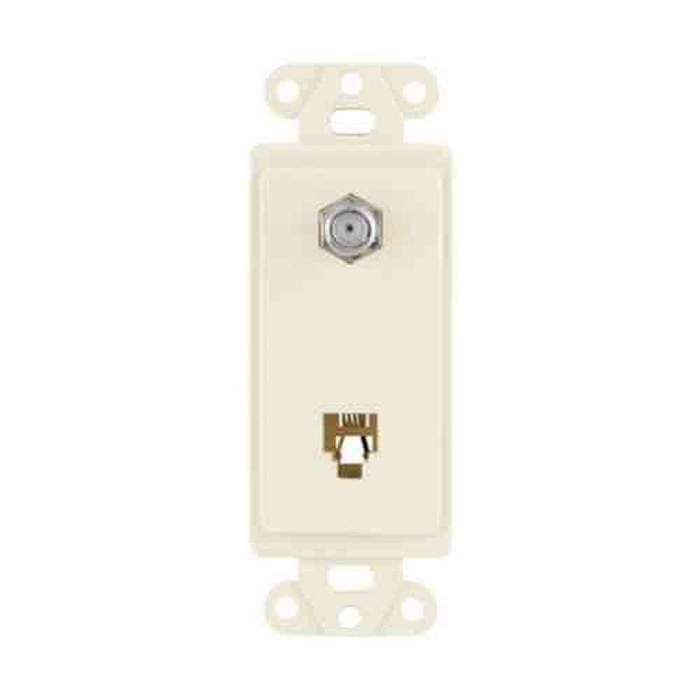 1 Gang Decorator Combination Telephone Jack - Light Almond