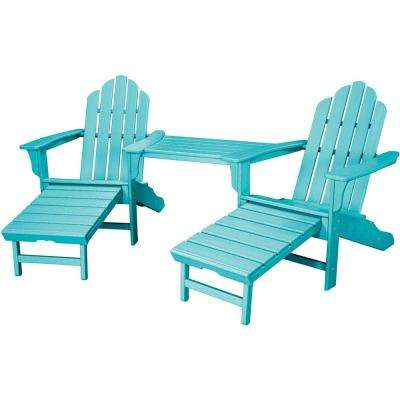 Rio Aruba Blue 3 Piece All Weather Plastic Patio Lounge Adirondack Chair Set  With