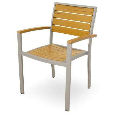 Basics Textured Silver All-Weather Aluminum/Plastic Outdoor Dining Arm Chair in Plastique Slats