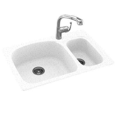 Drop-In/Undermount Solid Surface 33 in. 1-Hole 70/30 Double Bowl Kitchen Sink in Arctic Granite