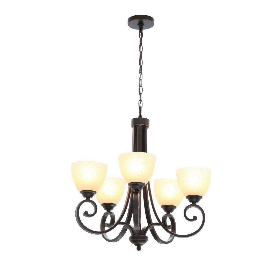 Hampton Bay Renae 5 Light Oil Rubbed Bronze Chandelier With Amber Glass Shades