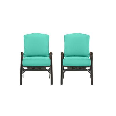 Ridge Falls Dark Brown Aluminum Outdoor Patio Motion Lounge Chair with CushionGuard Seaglass Turquoise Cushions (2-Pack)